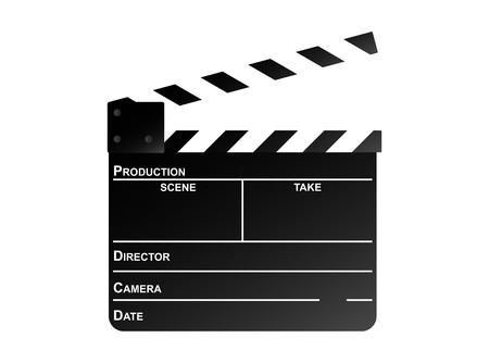 Movie clapper board on a white background. photo