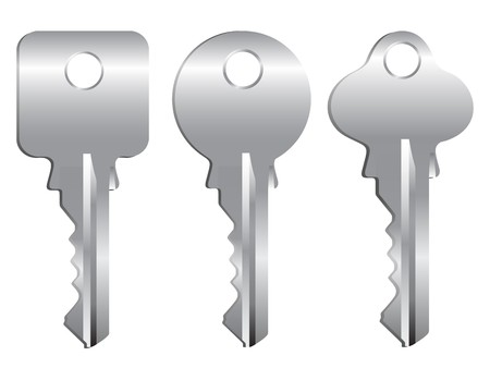 Three silver keys on a white background.