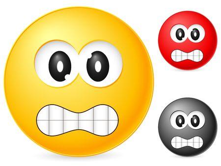 enrage: Emoticon isolated on white background. Vector illustration.