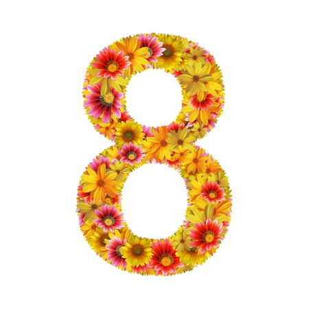 Number 8 created of flowers isolated on white background  photo