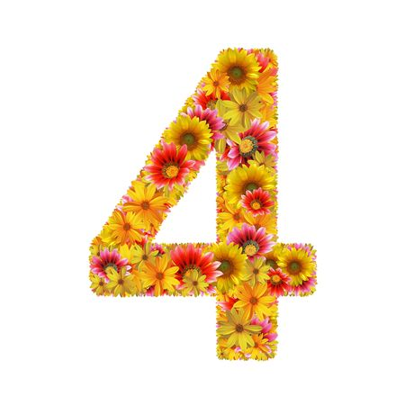 number four: Number 4 created of flowers isolated on white background
