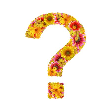 Question mark created of flowers isolated on white background  photo
