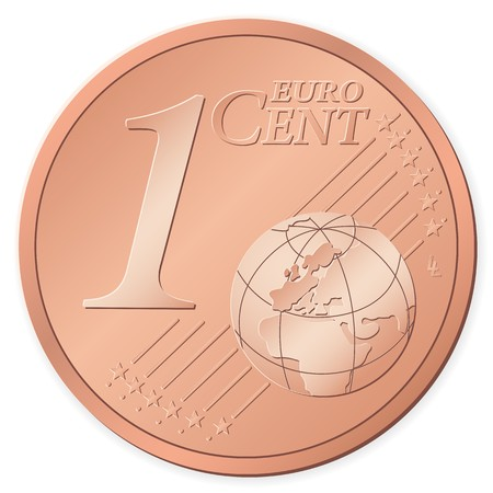 1 euro: 1 euro cent isolated on a white background Illustration