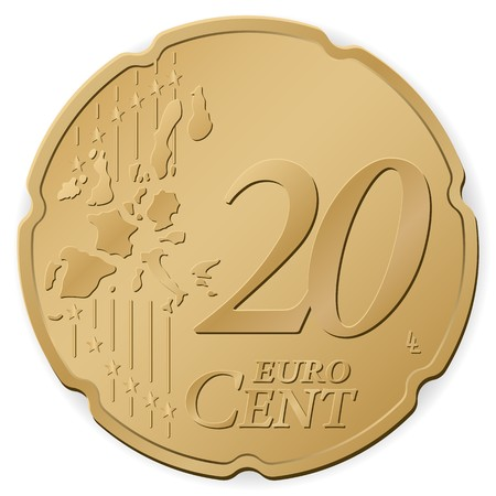 20 euro: 20 euro cent isolated on a white background Illustration