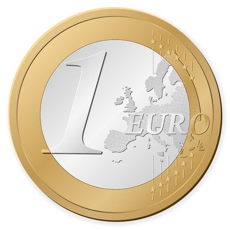 1 euro: One euro coin isolated on a white background