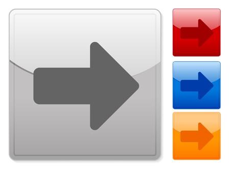 arrow right: Botones de web cuadrados de color derecho de flecha sobre un fondo blanco.