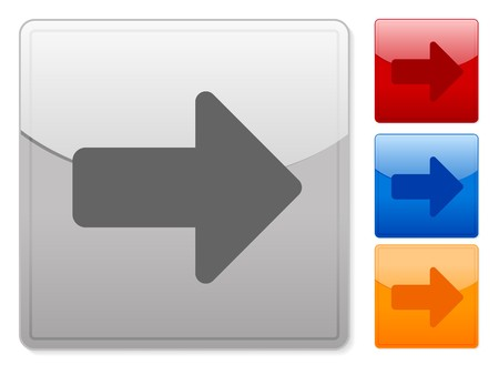 Color square web buttons arrow right on a white background. Vector