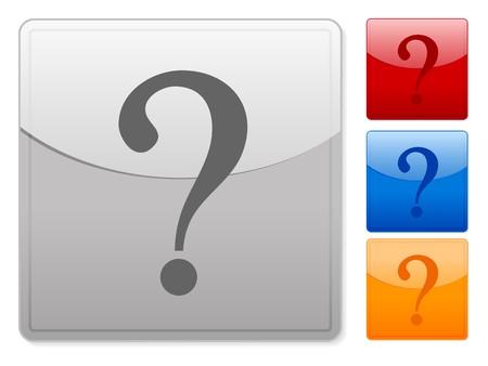 interrogativa: Botones de web cuadrados de color marca interrogativa sobre un fondo blanco
