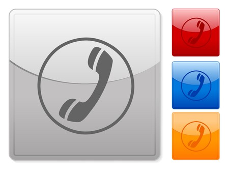 Color square web buttons phone on a white background. Vector