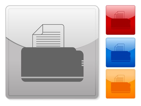 Color square web buttons printer on a white background Vector