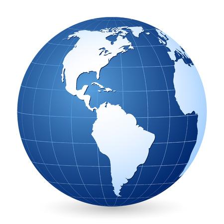 continente: Mundo de mundo azul sobre un fondo blanco. Ilustración vectorial.