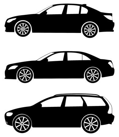 white car: Silhouette automobili su uno sfondo bianco. Illustrazione vettoriale.