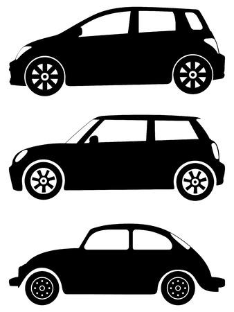 미니: 흰색 배경에 실루엣 자동차입니다. 벡터 일러스트 레이 션.