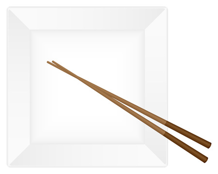 Empty white plate with chopsticks. Vector illustration. Vector