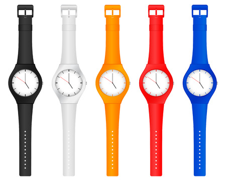 straps: Set vector illustration color wristwatch on a white background.
