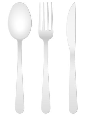 couteau fourchette cuill�re: Cuill�re, fork et couteau sur un fond blanc. Illustration vectorielle.