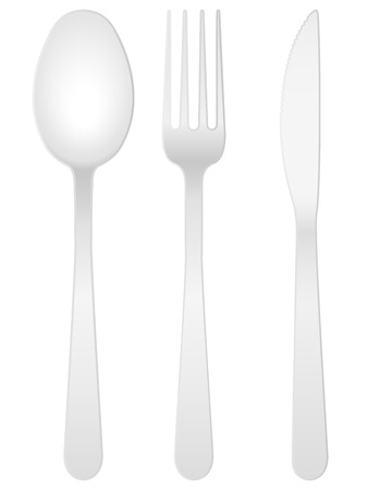 knife and fork: Spoon, fork and knife on a white background. Vector illustration. Illustration