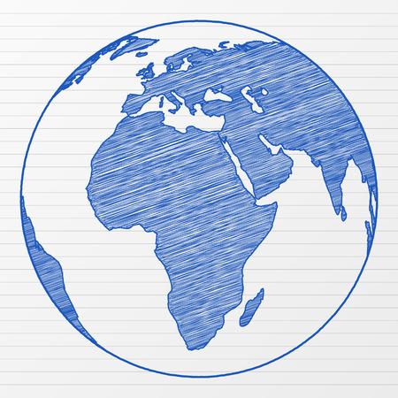 ink sketch: Globo mondiale di disegno su un foglio di Appunti. Illustrazione vettoriale. Vettoriali