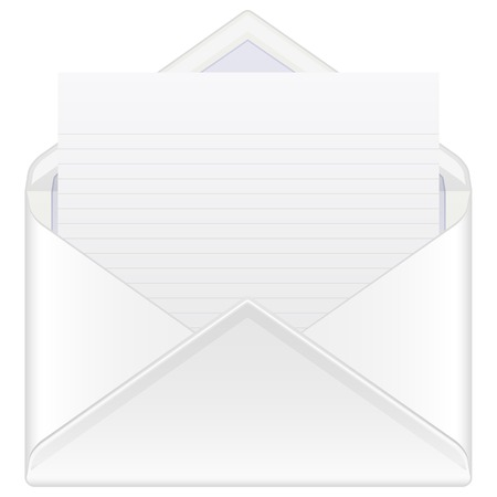 Envelope mail with blank sheet. Vector illustration. Vector