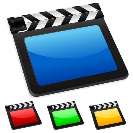 movie clapper: Filmato digitale 3D Batacchio pensione. Illustrazione vettoriale.