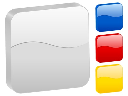 3d rounded square icon set isolated on a white background. Vector illustration. Stock Vector - 8230101