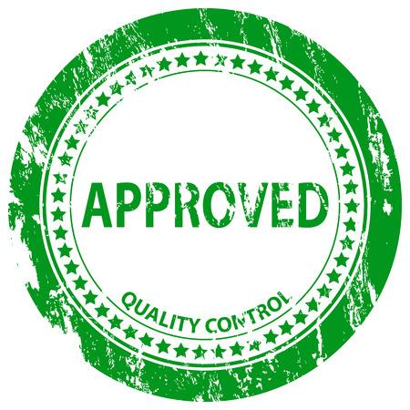 approved stamp: Sello verde grunge aprobado sobre un fondo blanco. Ilustraci�n vectorial.