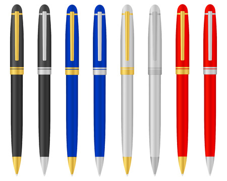 Eight ballpoints on a white background. Vector illustration. Vector