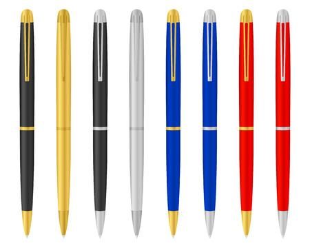 ballpoints: Eight ballpoints on a white background. Vector illustration. Illustration