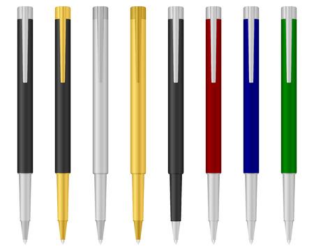 Eight ballpoints on a white background. Vector illustration. Stock Vector - 8230108
