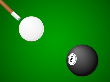 White and black billiard ball and stick. Vector illustration. Vector