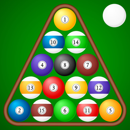 Set of pool balls on a green background. Vector illustration. Vector