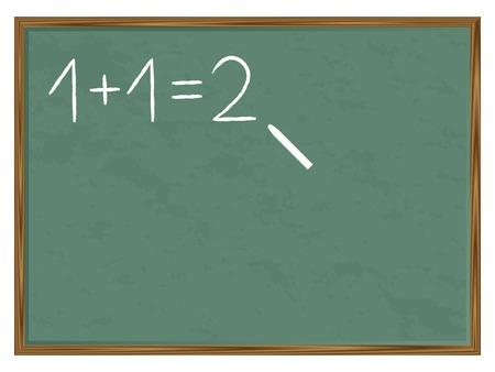 green chalkboard: Green chalkboard with basic calculation written and chalk. Vector illustration. Illustration