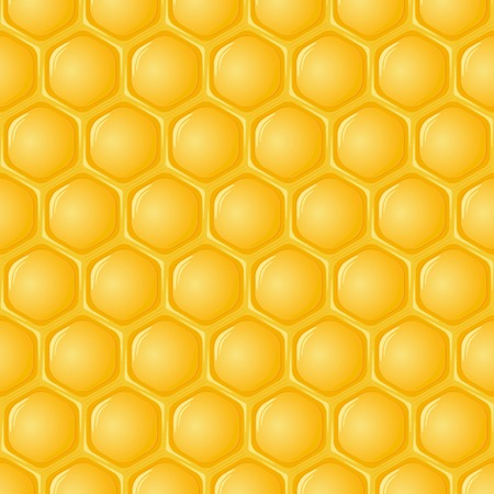 hives: Honeycomb with honey background. Vector illustration.