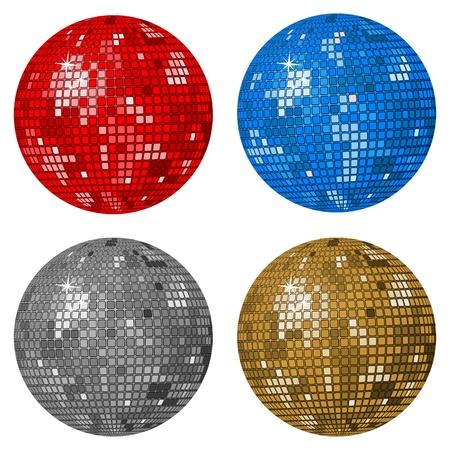 mirror ball: Bolas de discoteca aislados sobre un fondo blanco. Ilustraci�n vectorial. Vectores