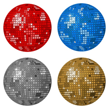 reflection in mirror: Isolated disco balls on a white background. Vector illustration.