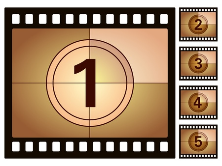 Film countdown isolated on a white background. Vector illustration. Vector