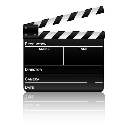 clap: Movie clapper board with reflection. Vector illustration.