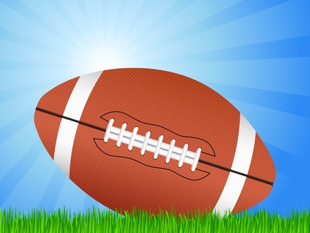 ball field: American football ball in green grass. Vector illustration.