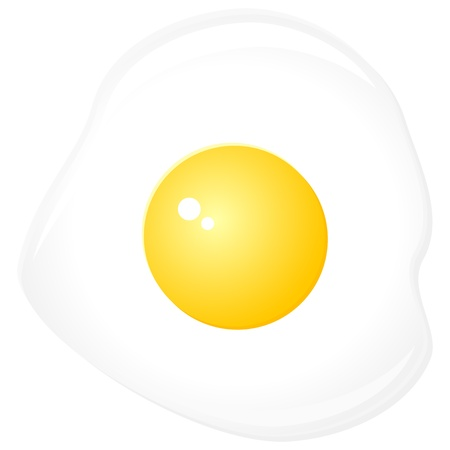fried: Fried egg isolated on a white background. Vector illustration.