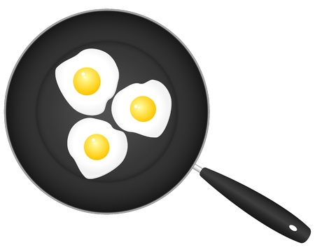 Frying pan with eggs on a white background. Vector illustration. Vector