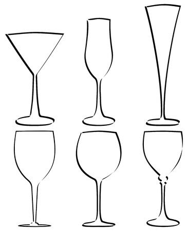 weingläser: Stem Glas Gliederung auf wei�em hintergrund isoliert. Vektor-Illustration.