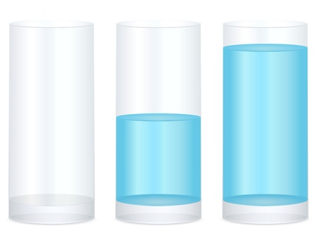 halves: Empty, half and full water glass on a white background. Vector illustration. Illustration