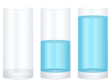 Leeg, half en vol water glas op een witte achtergrond. Vector illustratie. Vector Illustratie