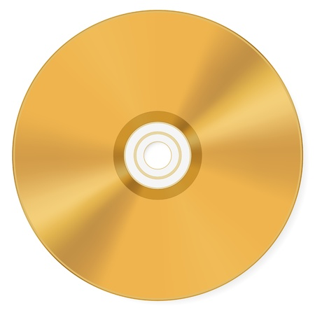 compact disk: Gold compact disk isolated on a white background. Vector illustration. Illustration