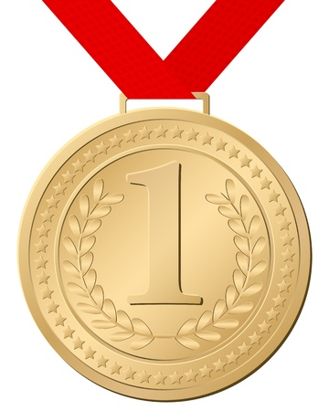 podium: Gold medal isolated on a white background. Vector illustration.