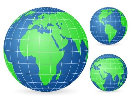 Green world globe set on a white background. Vector illustration. Vector