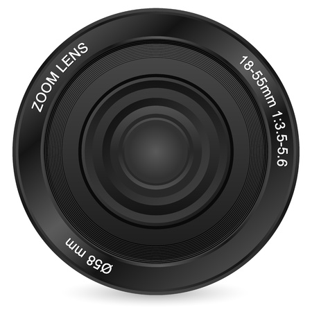 Zoom camera lens on a white background. Vector illustration.