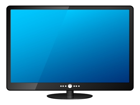 lcd display: Lcd tv isolated on white background. Illustration