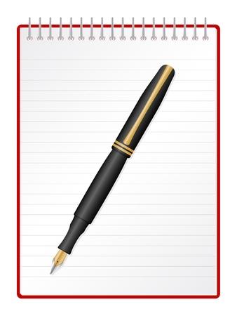 Fountain pen on a spiral notepad.  Vector