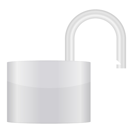 Grey padlock on a white background. Stock Vector - 8598937